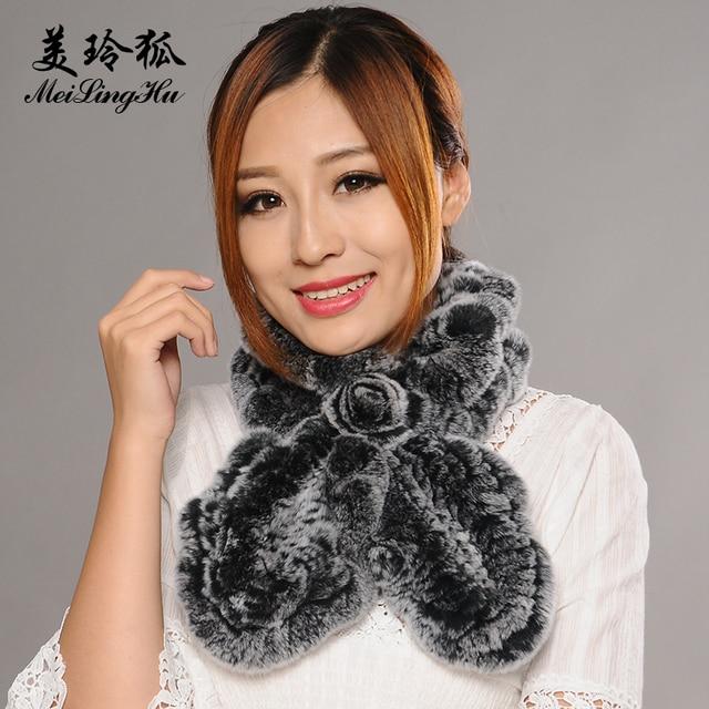 Mujeres real Rex conejo Pieles de animales bufanda invierno femenino de  color sólido natrual moda Piel a40686bb55c