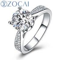 ZOCAI кольцо для любви Реал 1.0 КТ ГИА certified F-g/SI круглой огранки Обручение Для женщин кольцо 18 К из белого золота (au750) w03404