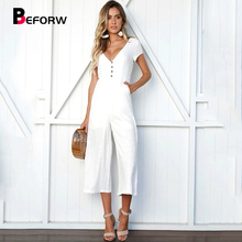 Sexy V Neck Short Sleeve Black Casual Jumpsuit Women Fashion Button Jumpsuit Romper Female Summer Loose Jumpsuit Overalls