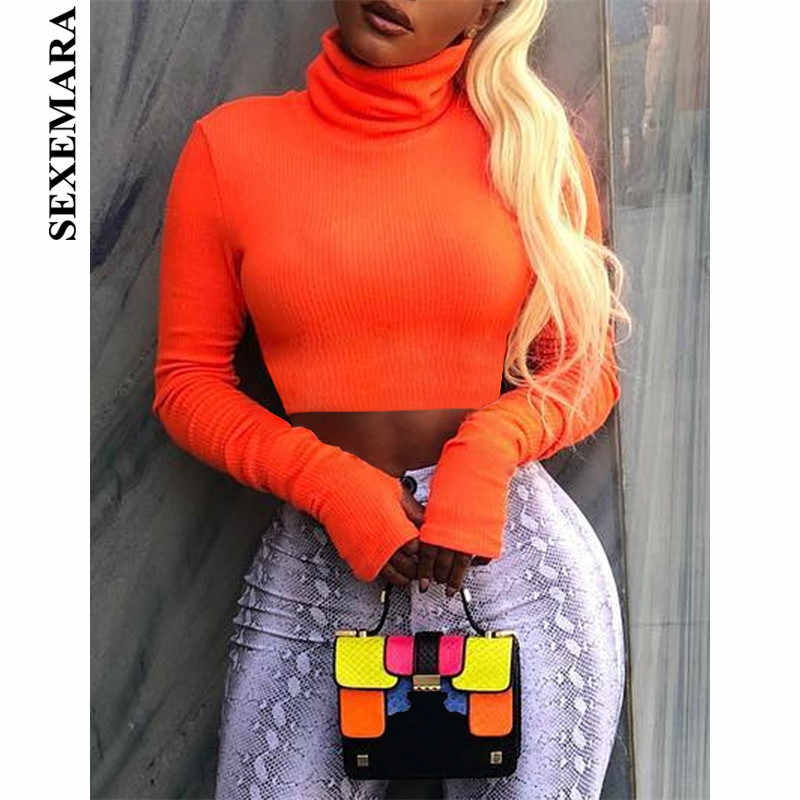 ae6cd5b861b0b BOOFEENAA Neon Color Turtleneck Crop Top Long Sleeve Shirt Women Sexy Slim  Autumn Winter Street Tops