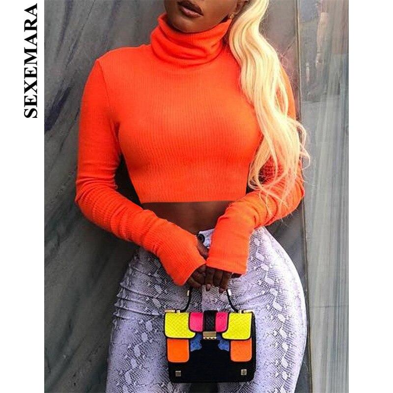 13466b9b9 BOOFEENAA Neon Color Turtleneck Crop Top Long Sleeve Shirt Women Sexy Slim  Autumn Winter Street Tops Tshirt Streetwear C70-I23