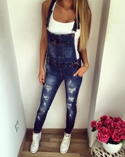 Autumn Women European Style Denim Jeans Overalls Pockets Casual Straps Jumpsuit Female Girl Pants