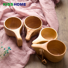 Visual Touch Natural Kuksa Wooden Mug New Finland Beer Cup Outdoor Portable Coffee Milk Water Drinking Mugs Lovers Gift