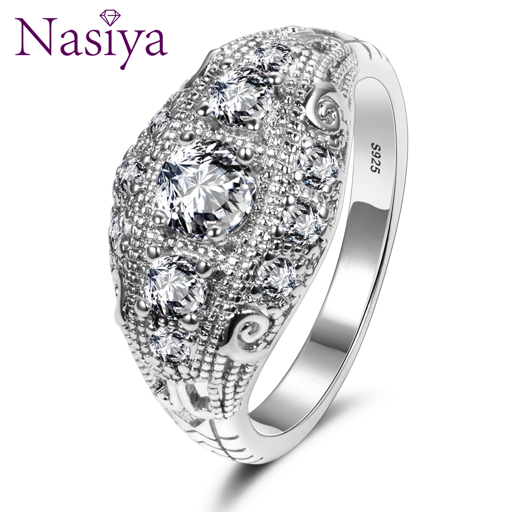 Romantic Luxury Wedding Rings With AAA Cubic Zircon Crystal Ring For Women New Brand 925 Silver Wedding Party Jewelry Gift