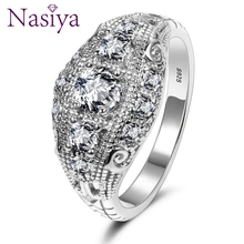 Romantic Luxury Wedding Rings With AAA Cubic Zircon Crystal Ring For Women New Brand 925 Silver Party Jewelry Gift