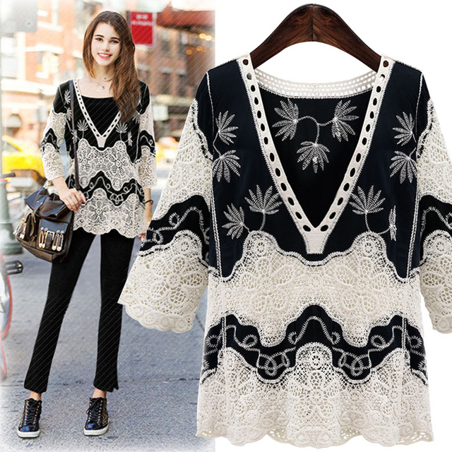 Summer Blouses For Women 2017 Woman Vintage Shirts Womens Elegant Embroidery Chiffon Ruffle Blouse White lace Ladies Tops R285 in Blouses & Shirts