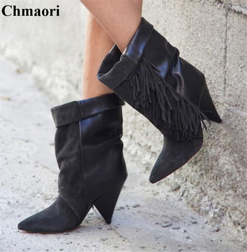 Winter Women Fashion Pointed Toe Black Grey Patchwork Suede Leather Spike Heel Short Boots Middle Side Tassels Mid-calf Boots