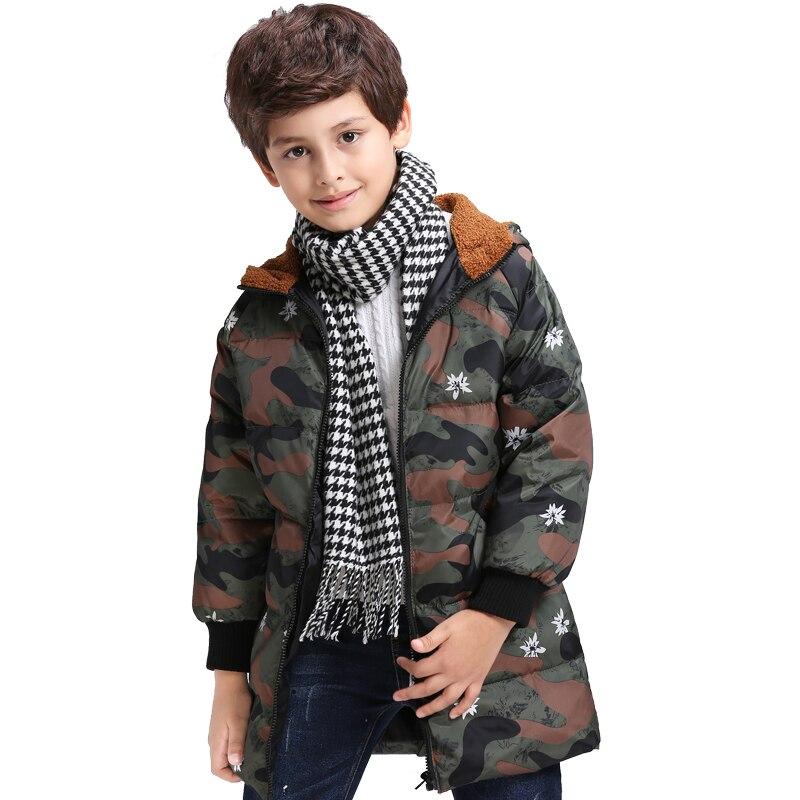 Fur Hooded School Coat Boys Kids Camouflage Warm Winter Padded Parka Jacket