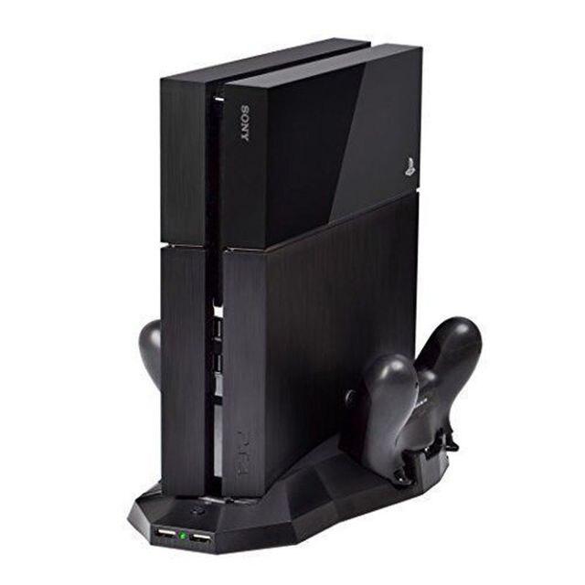 Montagem Titular Suporte Steady Vertical Stand Doca Cradle Estação de Carregamento Duplo com Ventiladores Cooler Para Sony Playstation 4 PS4