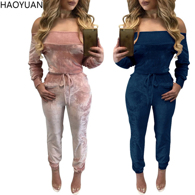 HAOYUAN Winter Women Velvet Jumpsuit 2017 Slim Off Shoulder Bodycon Jumpsuit Combinaison Femme Sexy Long Sleeve Velvet Bodysuit