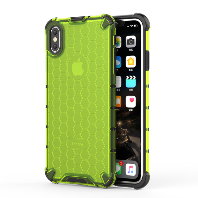Transparent Honeycomb Rugged Hybrid Armor Cases For iPhone XS Max XR XS X 8 7 6s 6