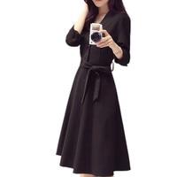 Autumn/Winter Black Vestidos Three Quarter Sleeve Elegant Vintage Lace Up Dress Midi For Women Single Breasted Party Robe TT3299
