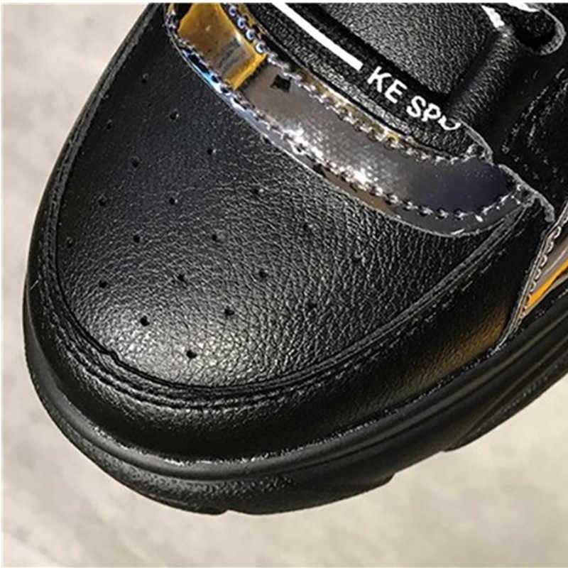 Scarpe Donna Bling con la suola Spessa Lace-up Della Piattaforma Scarpe Femminili della Scarpa Da Tennis Bianco Nero In Pelle Laser Sneakers Robusto Signore scarpe L1903