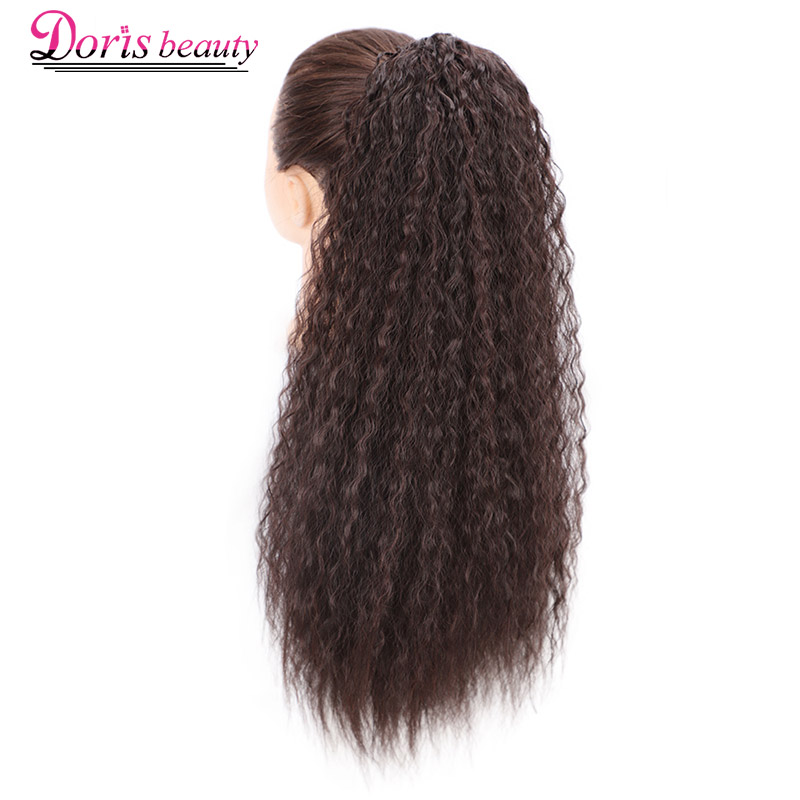 Doris Beauty Long Afro Kinky Curly Ponytail Extension 22 Inch Synthetic Drawstring Corn Wavy Hair Piece For Women Black Brown