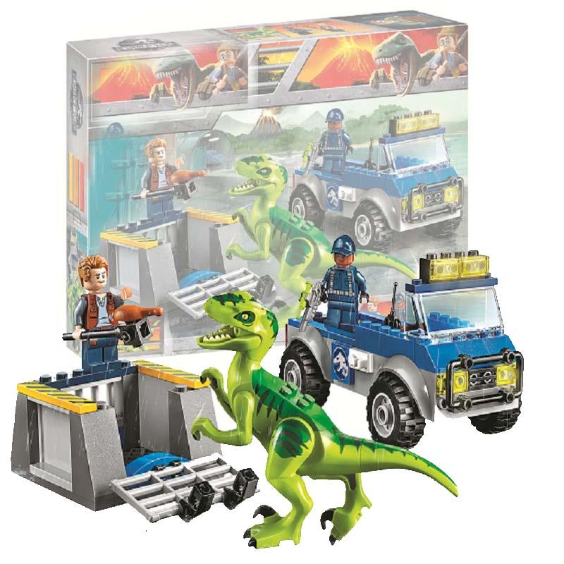 Bela 10919 Raptor Rescue Truck Jurassic Dinosaur World Bricks Building Block Toys Compatible With Legoings Juniors 10757 in Blocks from Toys Hobbies