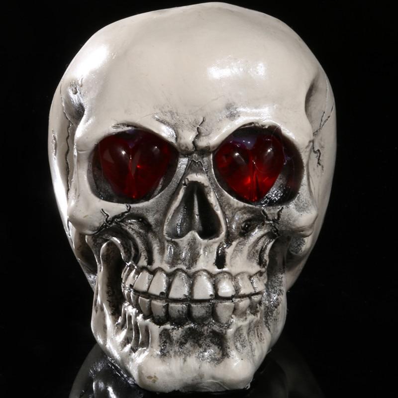 Saim Resin Skull Model Halloween LED Lighting Skull Head Home Decoration Glowing Crafts Decorative Craft Skull Statue JJ50573