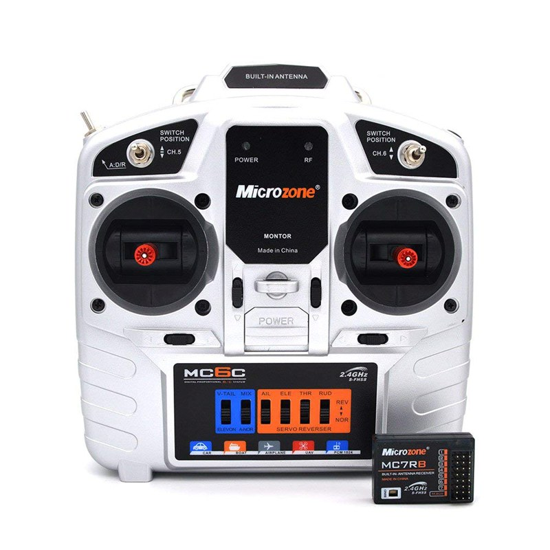 Microzone MC6C (S) (R) 2.4G 6CH remote control transmitter receiver radio system for RC airplane drone multirotor heli car boat free shipping microzone mc6c 2 4ghz 7ch s fhss radio remote control transmitter with receiver for airplane or rc car boat