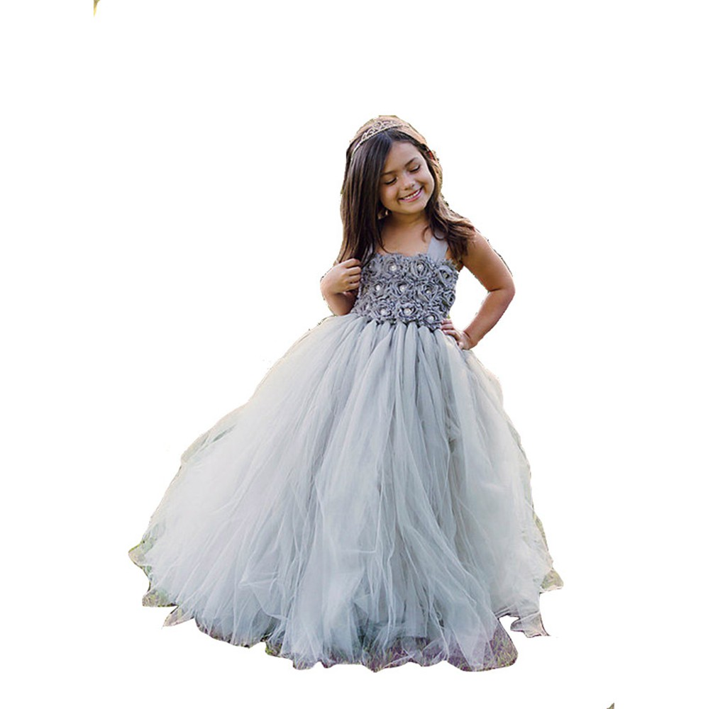 Children dress princess dresses girls wedding dresses gray for Flower girls wedding dress
