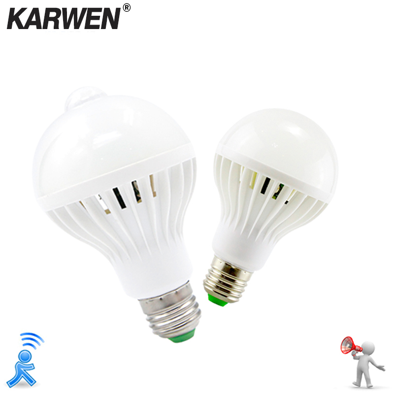 KARWEN LED PIR Motion Sensor Lamp 110V 220v Led Bulb 3w 5w 7w 9w 12w Auto Smart LED PIR Infrared Body E27 Sound Sensor Light