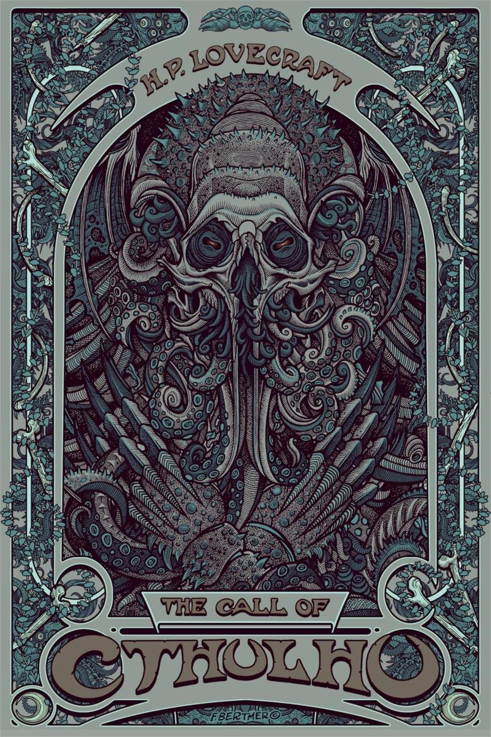 Art Nouveau Pintura Decoración Nórdica H P Lovecraft Cthulhu Pared Arte Lienzo