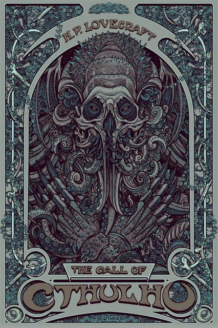 Hot Selling One Piece H  P  Lovecraft Cthulhu Art Nouveau Silk Fabric  Canvas Poster Print Wall Art Picture