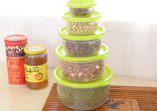 5Pcs/Set Multifunction Transparent Sealed Crisper Set Kitchen Containers