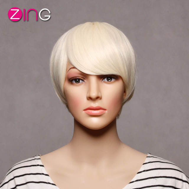 Short Blonde Wig Perruque Synthetic Women