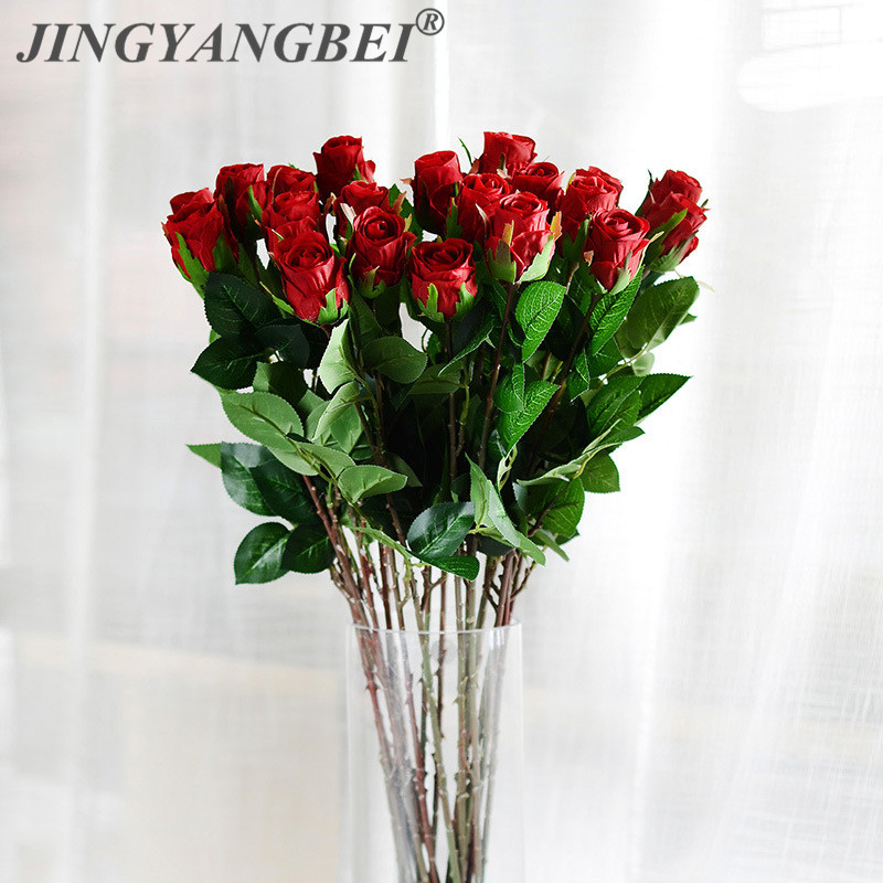 Real Touch Rubber Flower Polyurethane Perennial Flower Roses Red Rose Bouquet Wedding Home Decoration Artificial Flower