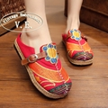 Vintage Embroidery Boho Women Slippers Casual Linen Cotton Floral Handmade Ladies Canvas Walking Hemp Soft Shoes Zapato Mujer