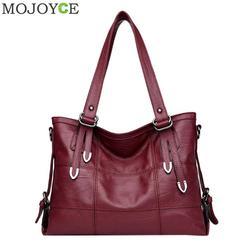 2018 Retro Style Large Women Handbags Fashion PU Leather Shoulder Bag Famous Brand Female Large Tote Handbag Ladies Shoulder Bag