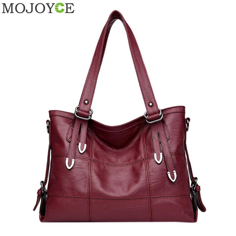 2019 Retro Style Large Women Handbags Fashion PU Leather Shoulder Bag Famous Brand Female Large Tote Handbag Ladies Shoulder Bag