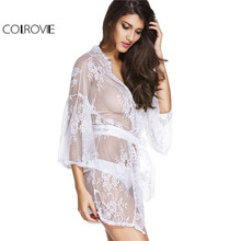 COLROVIE Vintage Semi Sheer Sexy Lace 3/4 Sleeve Thin Robes