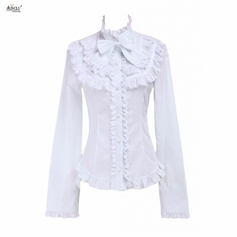 White Lolita Blouse Womens Hot Cotton Long Sleeves Lace Bow Ruffles Carvat Cotton Party Lolita Tops Cosplay XS-XXL