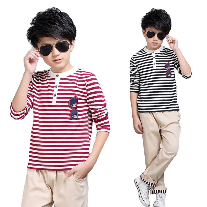 Children Clothing Sets For Boys Sportswear Long Sleeve Striped T-Shirts & Pants 2Pcs Spring Autumn Kids Outfits 4 6 8 10 12Years 2016 spring autumn cotton fashion boys clothes 3pcs children clothing sets long sleeve t shirt vest casual pants outfits b235