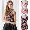 2016 Women Summer Casual Chiffon Flower Printed Vest Top Tank Sleeveless Shirt Blouse