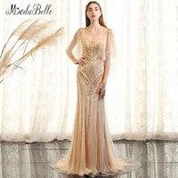 Modabelle Luxury Vàng Mermaid Beading Evening Dress Arabic Robe De Soiree Paillette 2018 Ngọc Trai Màu Hồng Dài Trang Phục Chính Thức