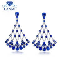 LANMI New Arrival Luxury Design Solid 18K White Gold Natural Blue Sapphire Earring Sparkly Diamond Jewelry for Women Party Gift