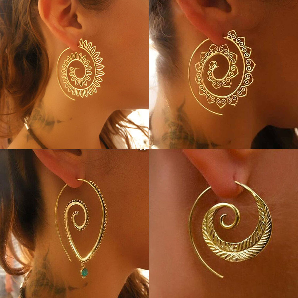 2019 Ethnic Jewelry Swirl Hoop Earring For Women Brincos Gold Color Geometric Earrings Steampunk Style Statement Party Jewelry
