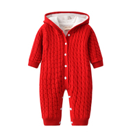 New Arrivals Newborn Baby Winter Clothes Thick Warm Baby Hooded Romper with fleece lined Bebes Baby winter Jumpsuits slowsuit