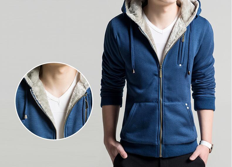 New Men's Hoodies Coat Plus Size 4XL Warm Inner Mens Coat Wool Winter Men Solid Hoodies Sweatshirts Casual