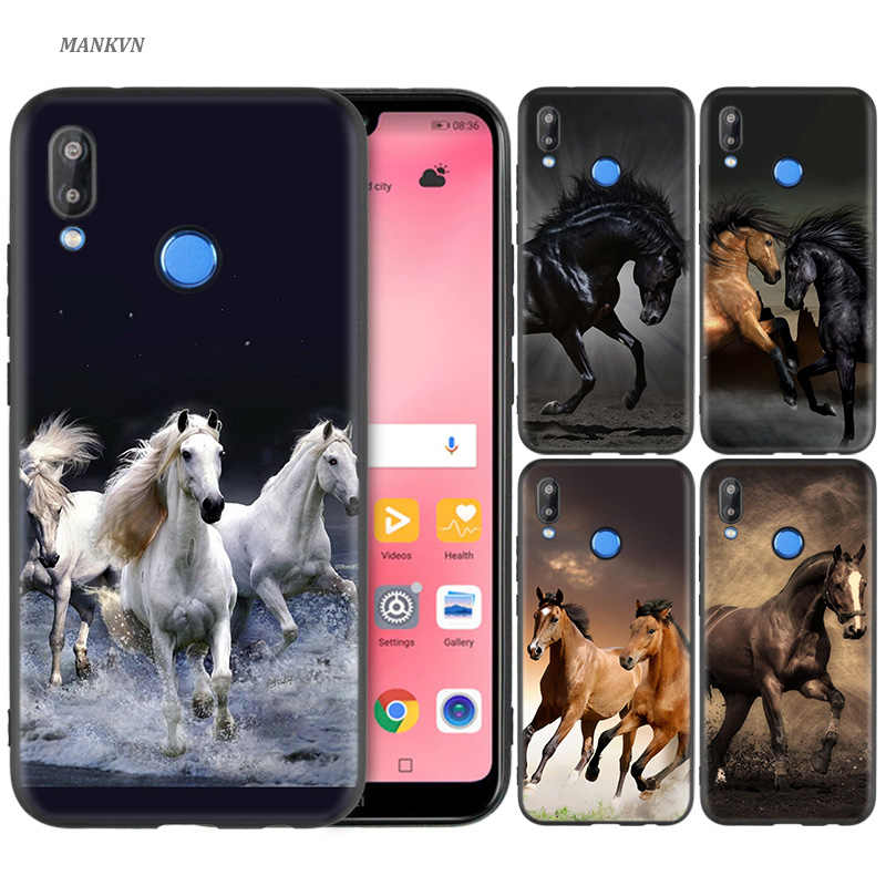 Black Silicone Case Bag Cover for Huawei P30 P20 P10 P9 P8 Mate 10 20 Lite 2017 Mini Pro P Smart Plus 2019 Watercolor Horse Runn