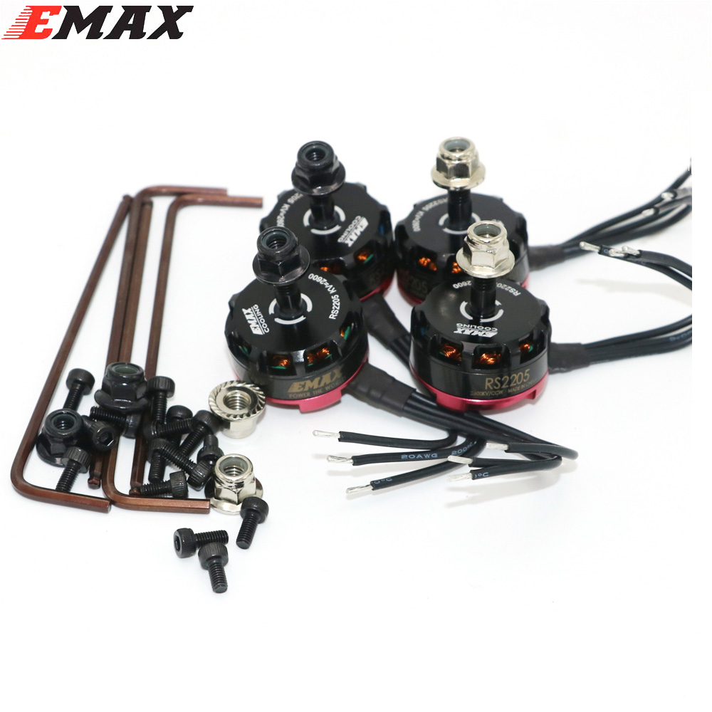 4set / lot Emax RS2205 2300KV 2600KV Безчетков мотор за FPV Quad Racing QAV Състезание 2 CW / 2 CCW едро Dropship