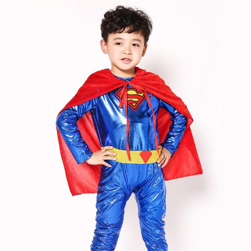 Superman cos Costume Children Adult Muscular Cosplay Costume jumpsuits Set Hero Anime Cloak Halloween Christmas Party suit