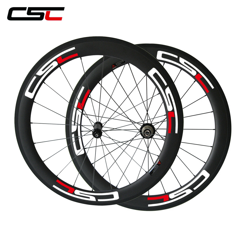 CSC Straight pull road wheel U Shape carbon 60mm clincher wheels 25mm width with carbon hub