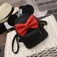 Sweet Fashion Female Bag High Quality PU Leather Women Backpack College Wind Bow Shoulder Bag Mickey