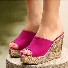 2016Fashion Sequins High Heel Slippers Women Summer Shoes Suede Platform Sandals Ladies Wedges Sandals Brand Flip Flops