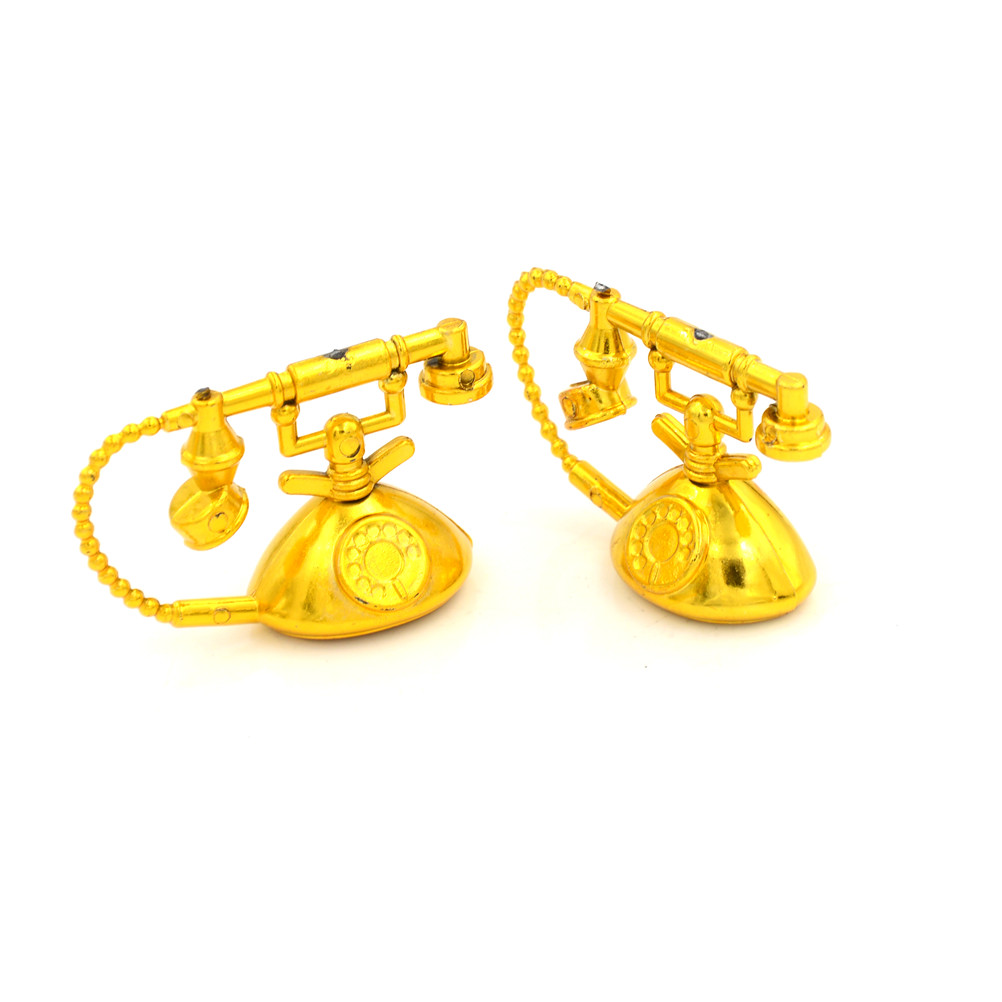 2PCS/lot 5cm Doll Mini Vintage Telephone For Dollhouse Doll Home Scene Play House Girls Fashion Gifts