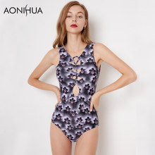 AONIHUA Backless One-piece Swimsuit Women Print Floral Purple beach Sleeveless Swimwear 9042 цены