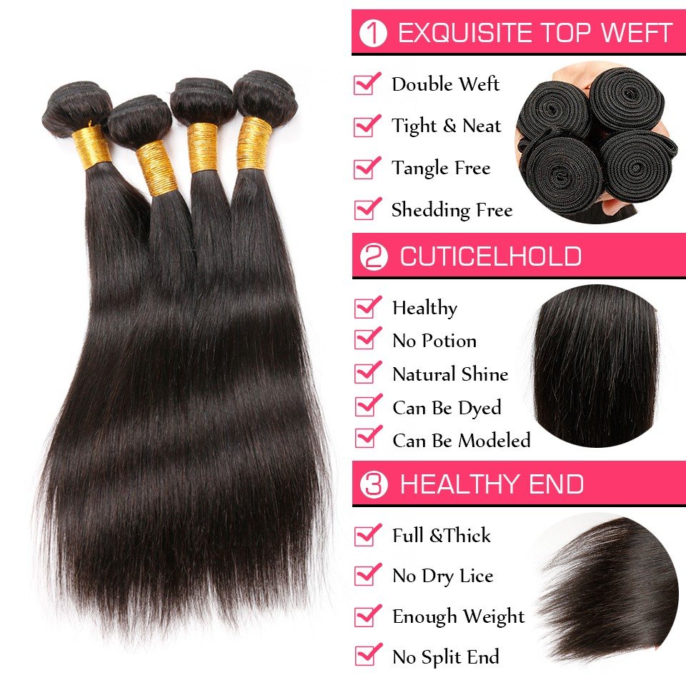 Brazilian Virgin Hair Straight 4 Bundles (4)