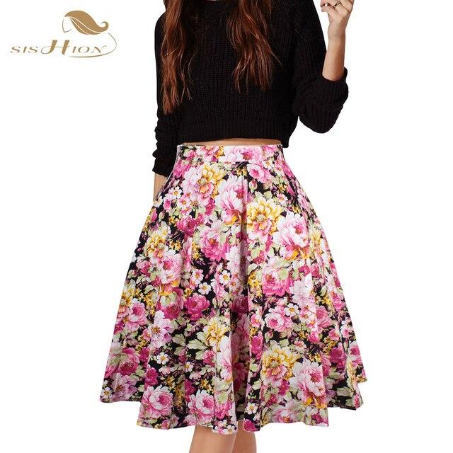 SISHION CUENTA con Faldas Para Mujer Sexy American Apparel Midi Falda Floral Dot negro Rojo Azul Más El Tamaño de Cintura Alta de Verano Del Tutú de La Falda faldas